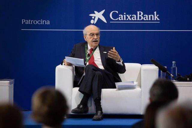 L'exconseller d'Economia i president del BIST, Andreu Mas-Colell, en la XXXVI Reunió Anual del Cercle d'Economia.