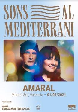 Cartel de Amaral en Sons al Mediterrani