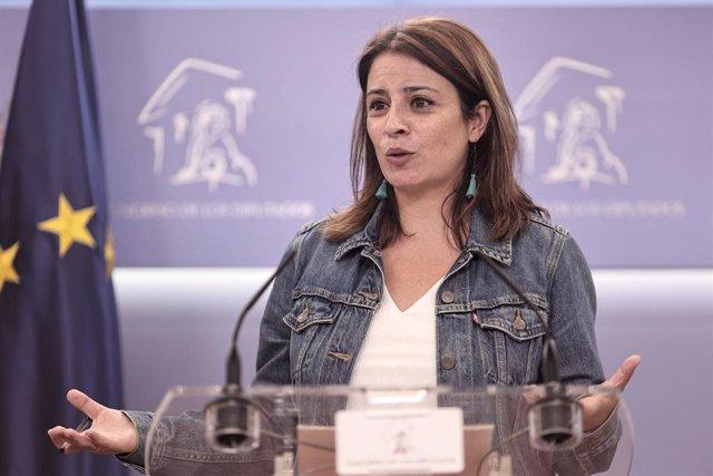 La vicesecretaria general del PSOE y portavoz en el Congreso, Adriana Lastra, en rueda de prensa el 15 de junio de 2021