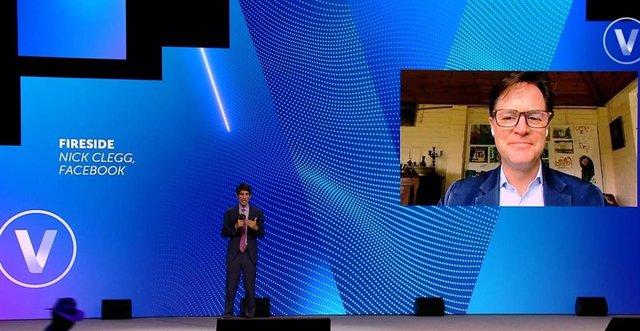 Nick Clegg, director del departamento de Relaciones Internacionales y Comunicación de Facebook, durante su participación virtual en la conferencia tecnológica VivaTechnology.