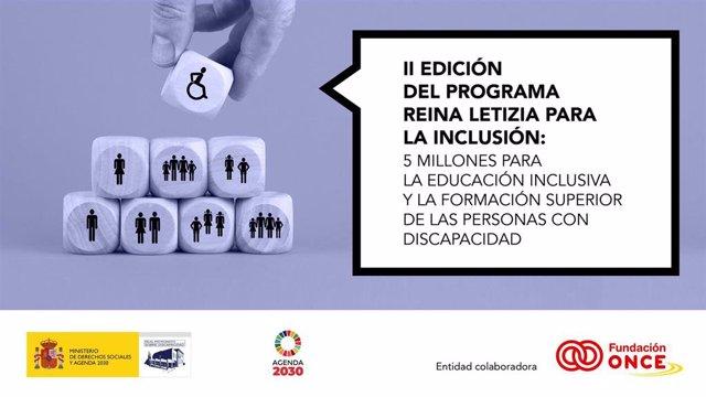 Archivo - Cartel II edición del Programa de Ayudas 'Reina Letizia para la Inclusión'