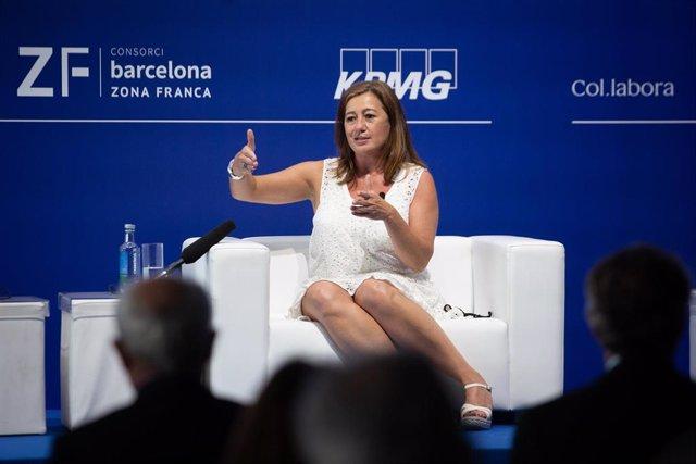 """La presidenta de les Illes Balerares, Francina Armengol, intervé en una sessió, sota el títol: `El model territorial per millorar l'economia espanyola', en la segona jornada de la XXXVI Reunió del Cercle d""""Economia, a l'Hotel W de Barcelona, a 17"""