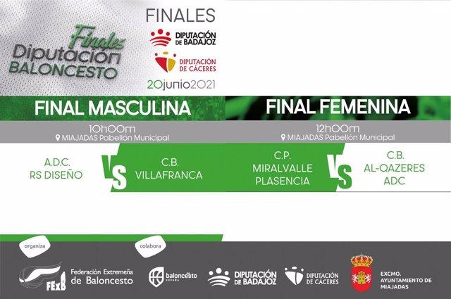 Cartel de las finales del XIV Trofeo Diputación de Cáceres y Diputación de Badajoz de Baloncesto