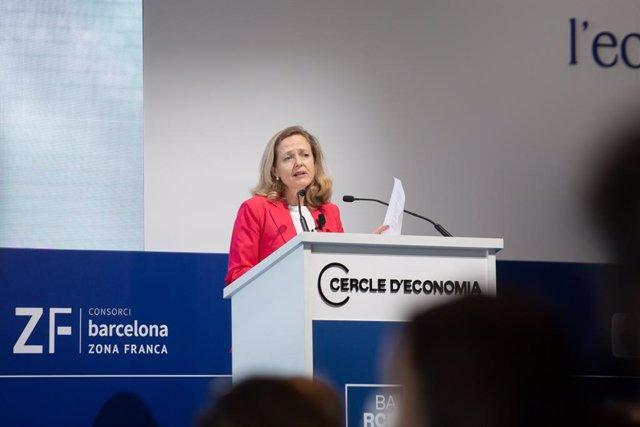 La vicepresidenta segona del Govern central i ministra d'Afers Econòmics, Nadia Calviño, en la XXXVI Reunió del Cercle d'Economia.