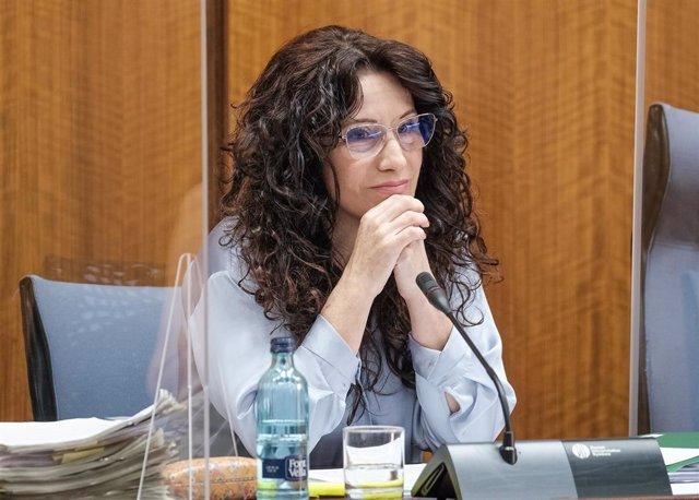 La consejera de Iguldad, Políticas Sociales y Conciliación, Rocío Ruiz, en comisión parlamentaria