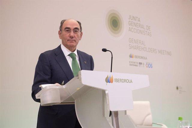 El presidente de Iberdrola, Ignacio Galán, en la junta de la compañía