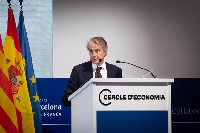 El presidente del Cercle d'Economia, Javier Faus, interviene en la tercera sesión de la XXXVI Reunión del Cercle d'Economia, a 18 de junio de 2021, en Barcelona, Cataluña, (España). Las jornadas, bajo el título 'La gran reconstrucción, retos y oportunidad