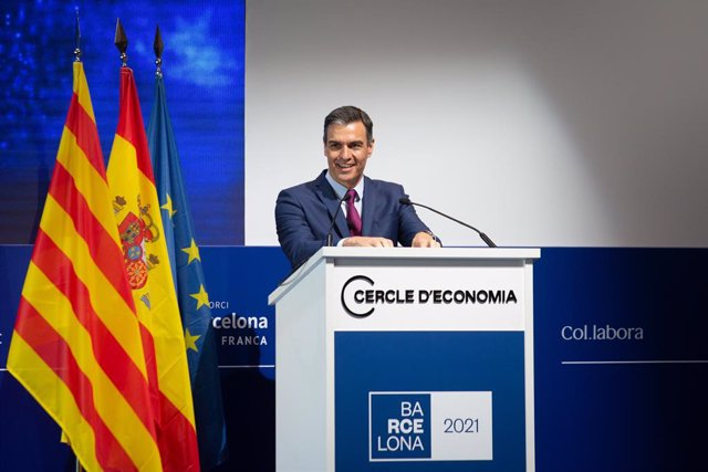 El president del Govern, Pedro Sánchez, intervé en la clausura de la tercera sessió de la XXXVI Reunió del Cercle d'Economia, a 18 de juny de 2021, a Barcelona, Catalunya, (Espanya).