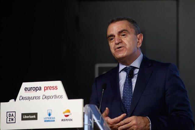El presidente del Consejo Superior de Deportes (CSD), José Manuel Franco, en los Desayunos Deportivos de Europa Press.