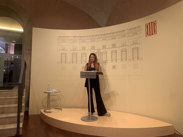 La portaveu del Govern, Patrícia Plaja, en roda de premsa després de constituir-se el grup de treball de l'Executiu per a la garantia del dret a l'habitatge