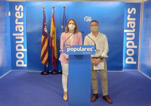 La portavoz del PP por Baleares, Marga Prohens, y el diputado Ibicenco Miquel Jerez.