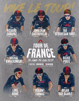 Alineación del INEOS Grenadiers para el Tour de Francia 2021, con Richard Carapaz, Geraint Thomas y Richie Porte como posibles líderes