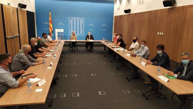 La consellera de Justícia Lourdes Ciuró es reune per primera vegada amb els representants dels sindicats de funcionaris de presons. A Barcelona el 18 de juny de 2021.