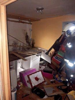 Daños ocasionados en la vivienda de Obregón alcanzada por un rayo