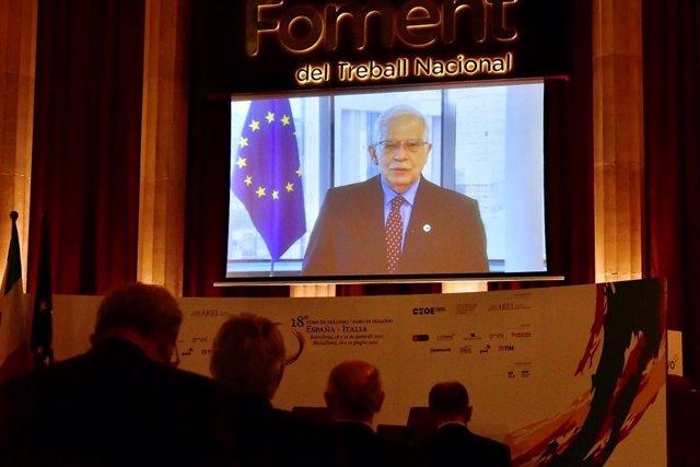 El alto representante para Asuntos Exteriores y Política de Seguridad de la Unión Europea, Josep Borrell, en el XVIII Foro de Diálogo España-Italia