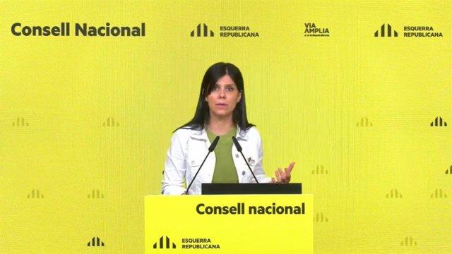 La secretària general adjunta i portaveu d'ERC, Marta Vilalta, en la seva intervenció telemàtica del Consell Nacional d'ERC.
