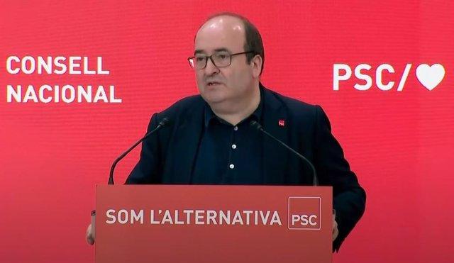 El ministre de Política Territorial i Funció Pública i primer secretari del PSC, Miquel Iceta, durant la seva intervenció en el Consell Nacional del partit.
