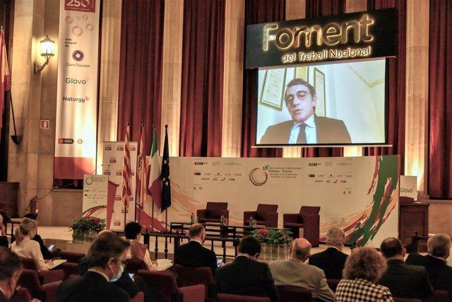 El presidente del Parlamento Europeo, David Sassoli, en el Foro de Diálogo España-Italia