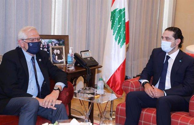 Josep Borrell y el primer ministro designado de Líbano, Saad Hariri