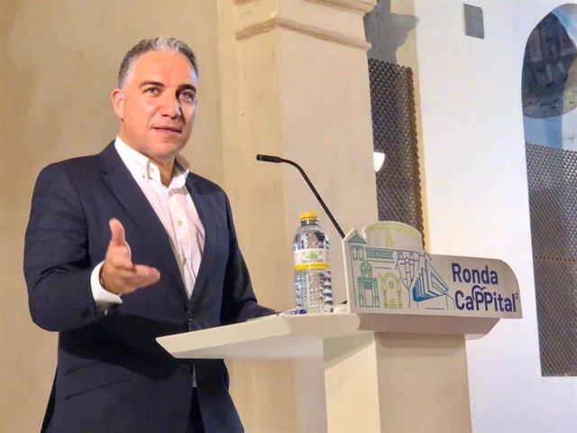 Elías Bendodo, portavoz del PP-A y presidente del PP de Málaga, en rueda de prensa en una imagen de archivo