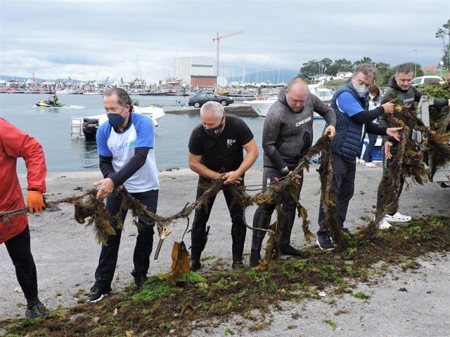 Voluntarios, entre ellos Francisco Botas y Juan Carlos Escotet, descargan los residuos en el puerto