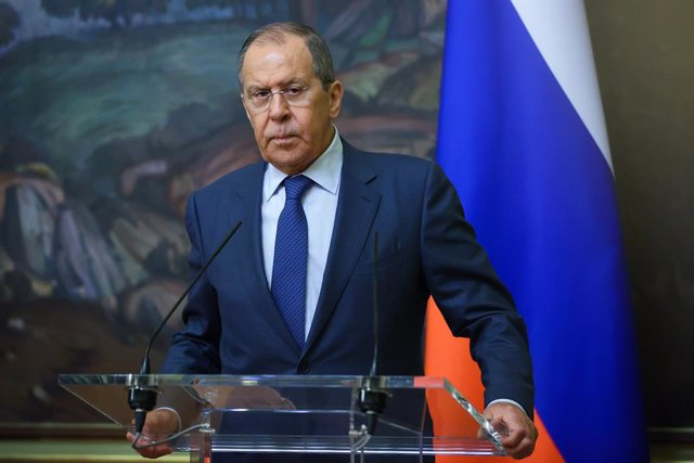 HANDOUT - 28 May 2021, Russia, Moscow: Russian Foreign Minister Sergey Lavrov attends a joint press conference with Slovenian Foreign Minister Anze Logar following their meeting in Moscow. Photo: -/Russian Foreign Ministry/dpa - ATTENTION: editorial use o