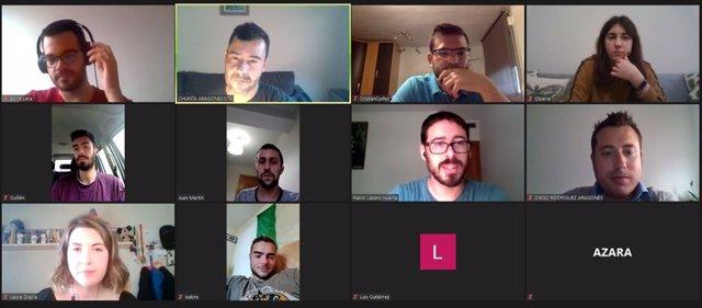 Reunión telemática del Ligallo de Redolada de Chunta Aragonesista en Zaragoza y representantes de la organización juvenil Choventut Aragonesista.