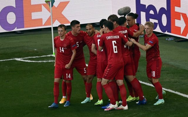 Danish players celebrates after scoring the 1-0 goal during a second game of the group stage (group B) at UEFA Euro 2020 championships between Belgian national soccer team Red Devils and Denmark, in Copenhagen, Denmark, Thursday 17 June 2021. BELGA PHOTO