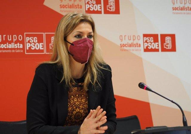 Archivo - La diputada del PSdeG Marina Ortega en rueda de prensa