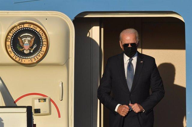 13 June 2021, Belgium, Steenokkerzeel: US President Joe Biden steps out of the Air Force One upon his arrival at the military airport in Melsbroek. Photo: Benoit Doppagne/BELGA/dpa