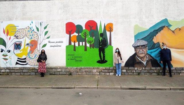 Uno de los murales de la ruta artística de Labordeta en La Almunia de Doña Godina