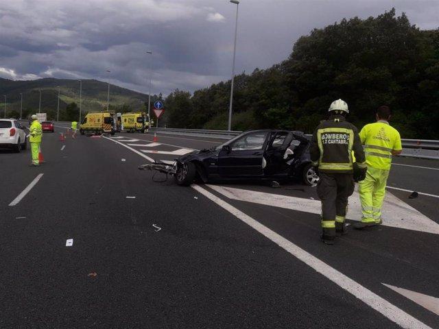 Accidente en la A-8 salida de Liendo