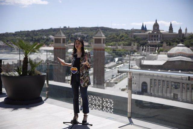 La presidenta de Cs,  Inés Arrimadas, durant la roda de premsa posterior al Comitè Executiu de la formació, a Barcelona.