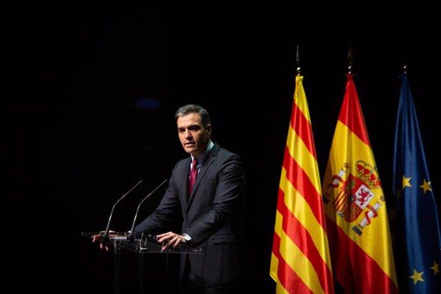 El president del Govern central, Pedro Sánchez, pronuncia la conferència 'Retrobament: un projecte de futur per a tot Espanya', al Gran Teatre del Liceu de Barcelona, a 21 de juny de 2021, a Barcelona, Catalunya (Espanya).