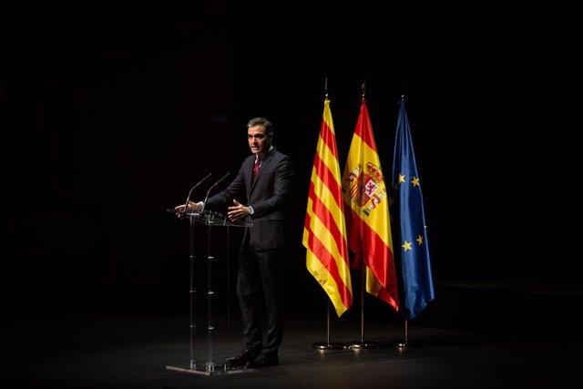 El president del Govern central, Pedro Sánchez, en la seva conferència al Liceu.