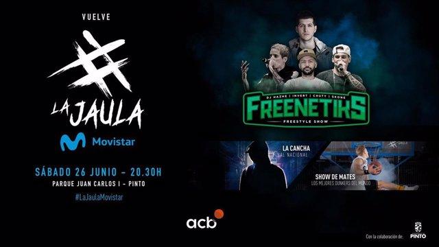 La Jaula Movistar regresa para acoger la final de La Cancha y el show de Freenetiks y dunkers.