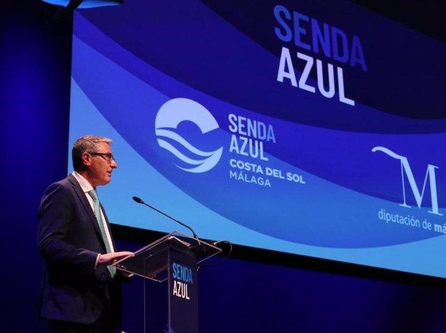 Francisco Salado, presidente de la Diputación de Málaga y de Turismo Costa del Sol, presenta el proyecto Senda Azul de la institución