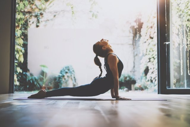 Archivo - Portrait of gorgeous young woman practicing yoga indoor. Beautiful girl practice cobra asana in class.Calmness and relax, female happiness.Horizontal, blurred background.Visual effects.