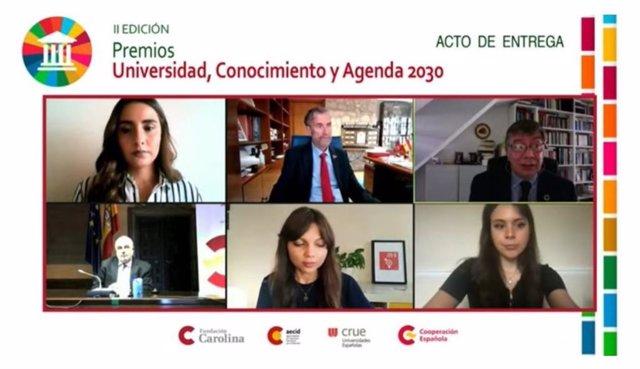 Acto virtual de entrega de los II Premios Universidad, Conocimiento y Agenda 2030
