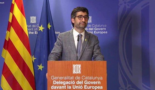 El vicepresidente de la Generalitat y conseller de Políticas Digitales y Territorio, Jordi Puigneró, en rueda de prensa.