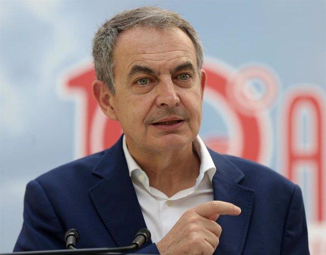 El expresidente del Gobierno de España José Luis Rodríguez Zapatero en el 10 aniversario de la integración de régimen especial agrario en el régimen general de la seguridad social en la escuela Julián Besteiro, a 27 de mayo de 2021, en Madrid (España).