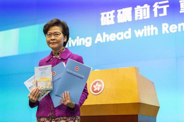 Archivo - La jefa de Gobierno de Hong Kong, Carrie Lam.