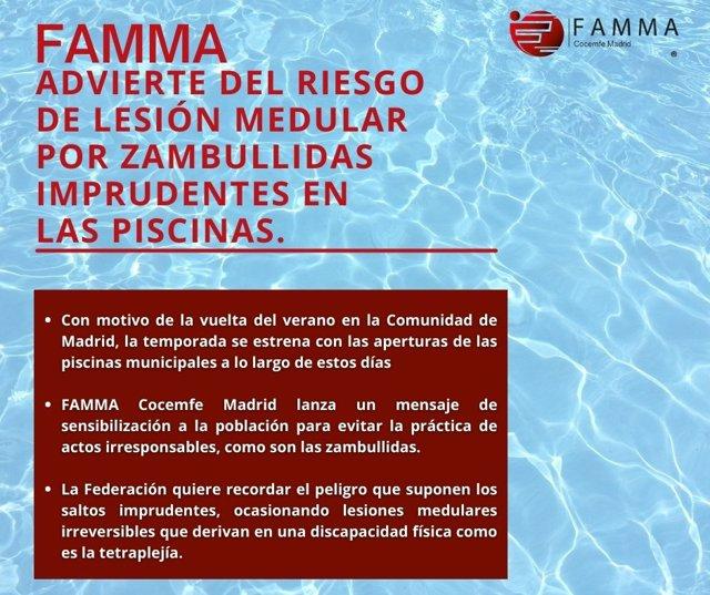 FAMMA advierte del riesgo de lesión medular por saltos imprudentes en las piscinas