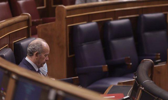El ministro de Justicia, Juan Carlos Campo, en una sesión plenaria celebrada en el Congreso de los Diputados, a 10 de junio de 2021, en Madrid, (España). El pleno de hoy aborda entre otras cuestiones, el Real Decreto-ley por el que se adoptan medidas urge