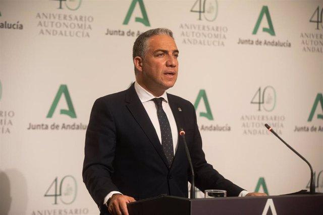 El  consejero de la Presidencia y portavoz del Gobierno andaluz, Elías Bendodo, en una imagen de 15 de junio.