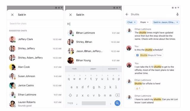 Imagen de los nuevos filtros interactivos para facilitar la búsqueda en las conversaciones antiguas de Google Chat