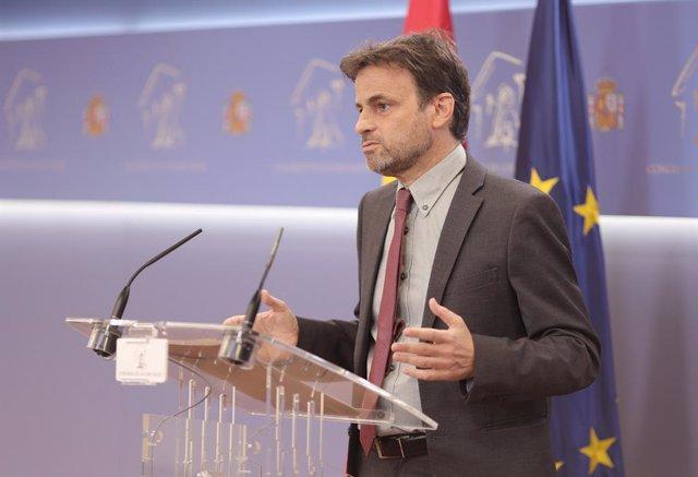 El president del grup parlamentari d'Unides Podem al Congrés, Jaume Asens, intervé en una roda de premsa anterior a una reunió de la Junta de Portaveus al Congrés dels Diputats, el 22 de juny del 2021, a Madrid, (Espanya).