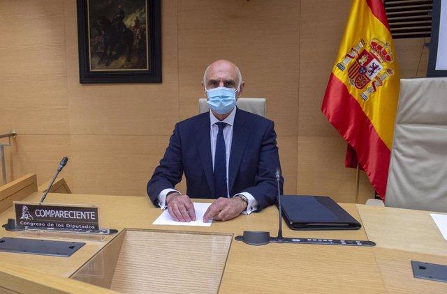 Archivo - El secretario de Estado de Política Territorial y Función Pública, Víctor Francos Díaz, durante una reunión de la Mesa y portavoces de esta comisión del Congreso, a 22 de abril de 2021, en Madrid (España).