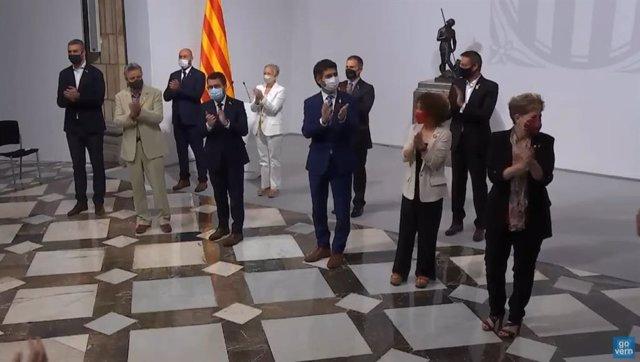 Presa de possessió dels delegats territorials del Govern, amb el president, Pere Aragonès, i el vicepresident, Jordi Puigneró.