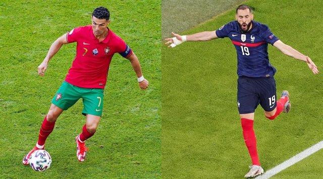 Archivo - Cristiano Ronaldo (Portugal) y Karim Benzema (Francia)